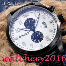 2017 Fashion Hot Luxury Corgeut 46mm white dial PVD Case date adjust Black strap quartz Mechancial Newest Hot Men's Wristwatches
