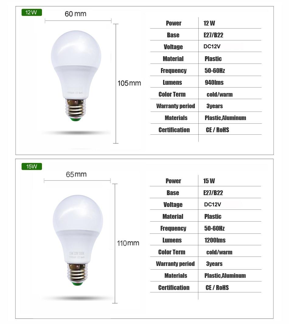 Image 4 - YOYOLUO E27 LED Bulb Lights 3W 6W DC 12V Led Lamp 9W 12W 15W Energy Saving Lampada 12 Volts Led Light Bulbs for Outdoor Lighting-in LED Bulbs & Tubes from Lights & Lighting