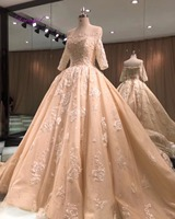 Dreagel Glamorous Appliques Beaded Royal Train Princess Wedding Dresses 2017 Boat Neck Half Sleeve Wedding Gown
