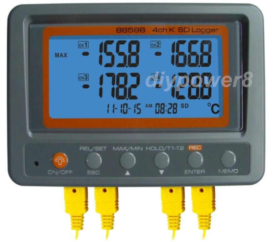 Многоканальный цифровой термометр 4 канала K Тип термопары Температура Logger SD карты регистратор данных az 88598