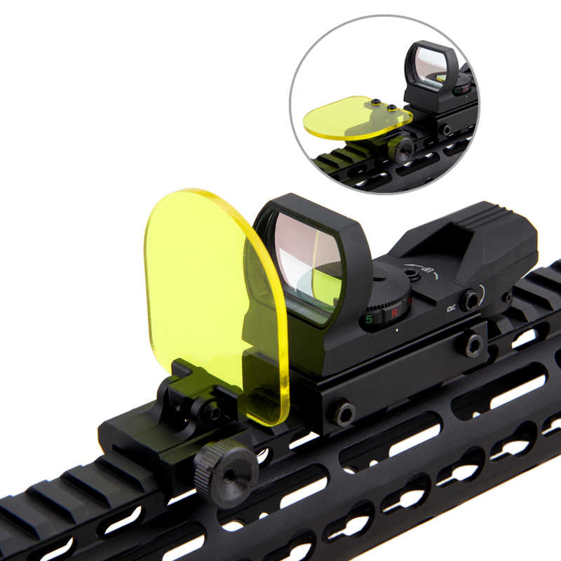 VASTFIRE Opvouwbare Airsoft Sight Scope Lens Screen Protector Cover Shield Panel 20mm Rail Mount Rifle Protector