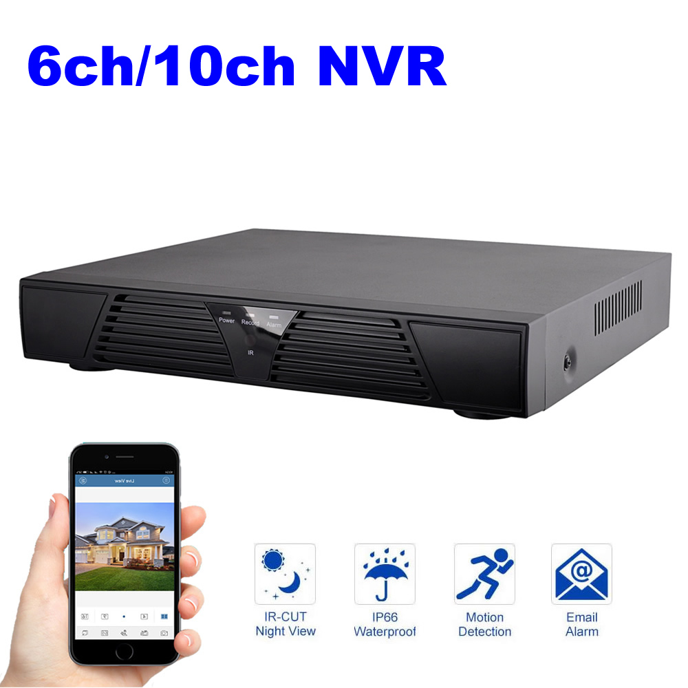 6 channel /10 channel NVR 1080P Onvif Network Video Recorder for IP Camera Cloud P2P big promotion profession 2u full onvif video recorder nvr 32ch 1080p with hdmi p2p cloud for ip camera with 2tb hdd