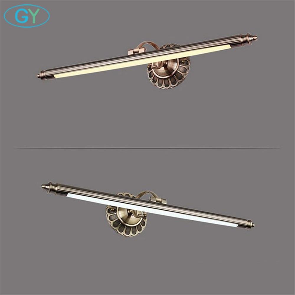 L50 / 70/90 cm Badkamer Spiegel Lamp Waterdicht Retro Brons Kastijdse led-verlichting Led Wandlamp vintage badkamer miroir coiffeuse