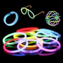 100 шт. флуоресценции свечения Щупы для мангала Браслеты Ожерелья для мужчин Neon партия Наклейки для спорта встретить яркий красочный свет подарки