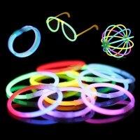100 PCS Fluorescence Lumière Glow Sticks Bracelets Colliers Néon Partie Autocollants Pour Sport Rencontrer Lumineux Lumière Colorée Cadeaux
