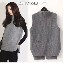 ZEHANGSEA - autumn and winter new wool vest ladies thick knit warm outside half-high collar vest-Free shipping