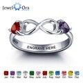Personalizado de plata esterlina 925 figura 8 doble corazón birthstone anillo diy infinito amor anillo nombre (jewelora ri101977)