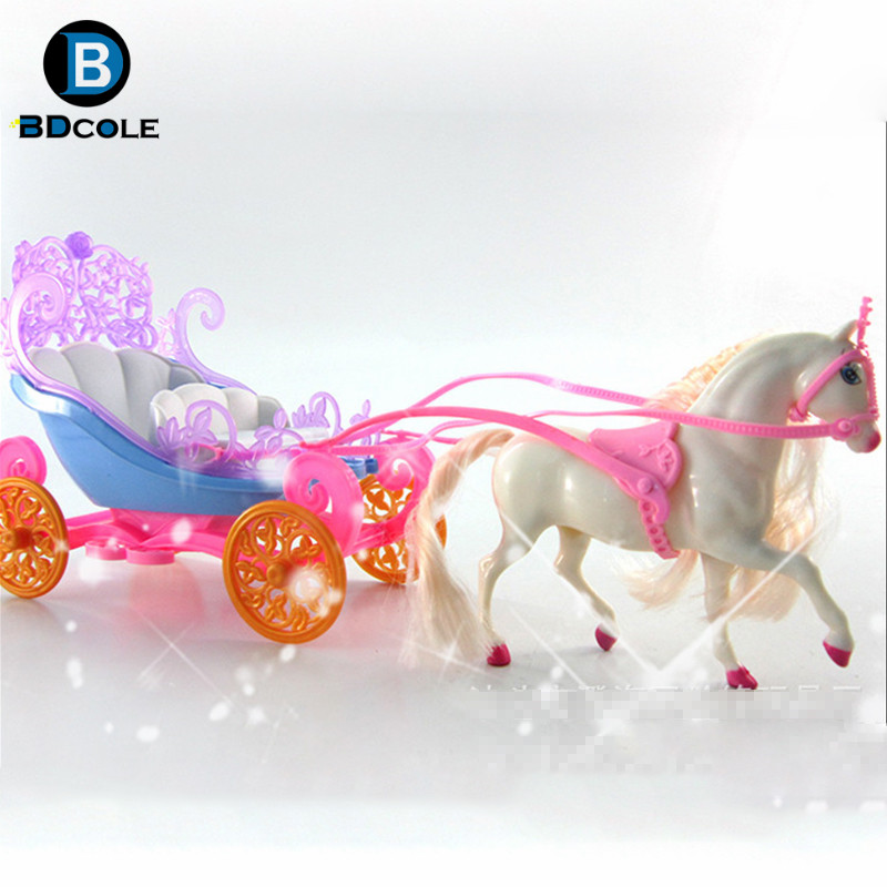 Jimusuhutu Mini Coloful Horse Carriage For Barbie Kelly Doll Dream Castle Girl Children's Day Gift Birthday Toy
