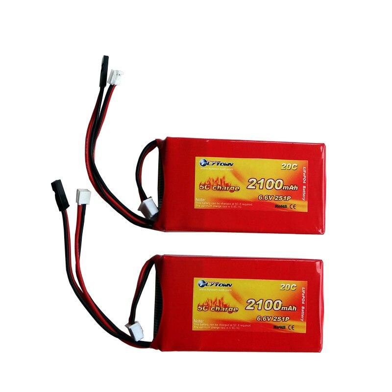 Flytown-batterie LiFePo4, 2100mAh, 2S1P, 6.6V 20C, pour Futaba 3PV T14SG 8J 10J, 4PK 4PX 4PV 4PM 7PX 4PLS 16SZ