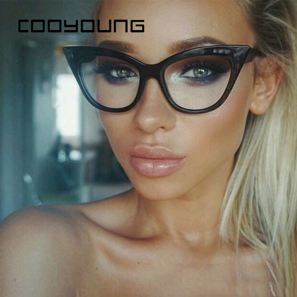 COOYOUNG Cat Eye Sunglasses Women Brand Design Vintage Clear Sunglasses Sexy Ladies Sunglasses Female Oculos Cateye UV400