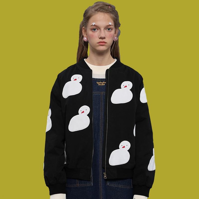 2017 Autumn New Women Jacket Tops Sweet Snowman Patch Female Black Outwear Coats Cotton Feminina Basic