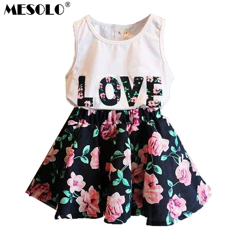 MESOLO 2019 2PCS Kids Baby Girls Toddler T-shirt Tank Tops and Skirt Dress Set Outfits Clothes