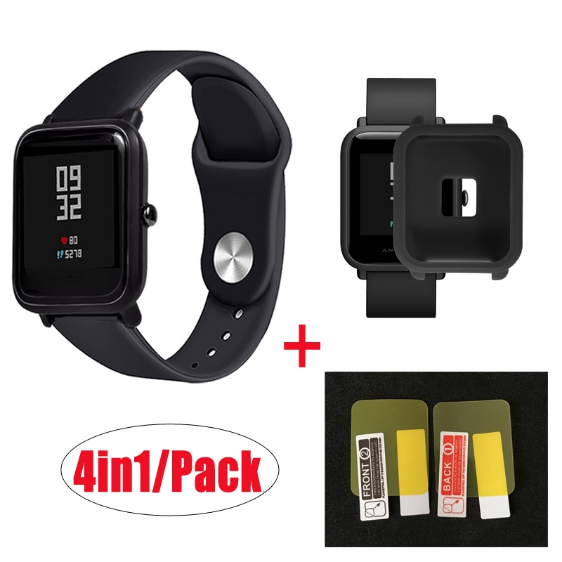 4in1/Pack Silicone Soft Strap For Xiaomi Huami Amazfit Bip BIT Youth Watch Wrist Strap Bracelet Rubber Amazfit Bip Case Cover