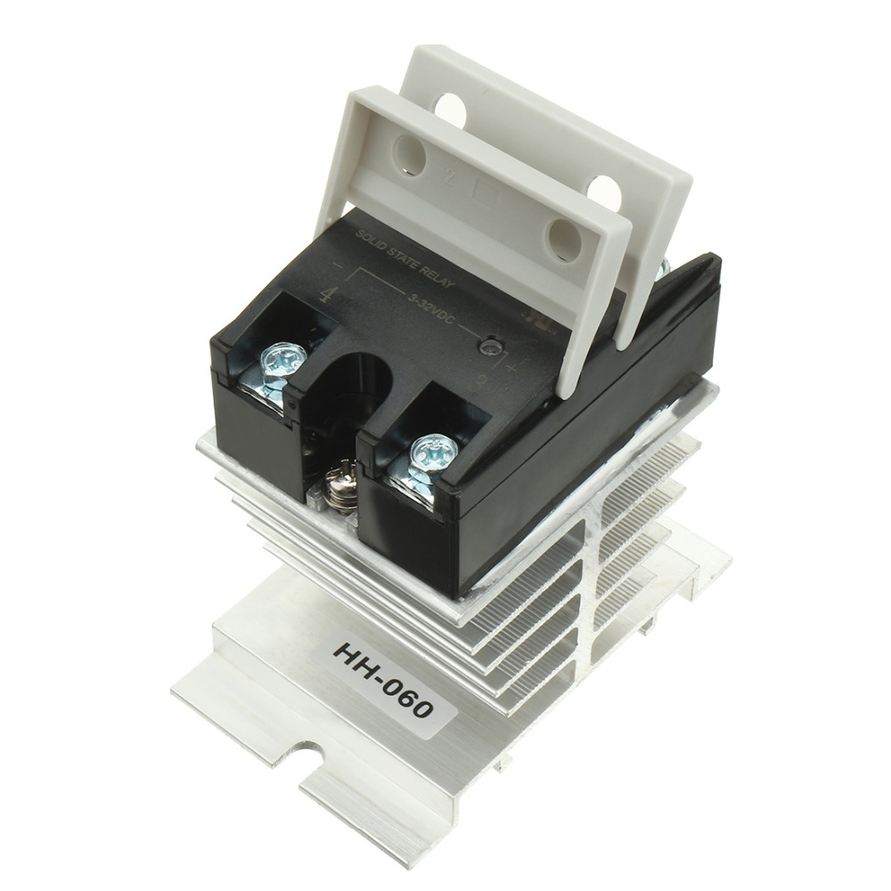 New Arrival LSR1-1-380DA 80A DC to AC 3-32VDC to 24-440AC SSR Thermal Compound Solid State Relay + Heat Sink