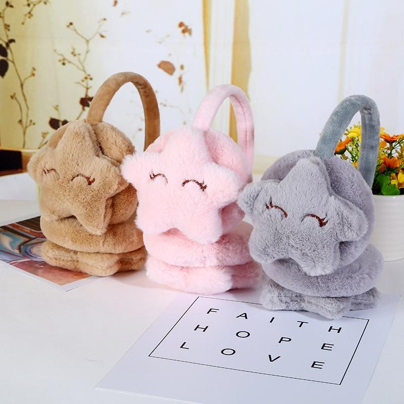 Winter Warm Earmuffs For Children Star Plush Fur Ear Muff Ear Cover Cute Headband For Girls Kids Fashion Brand Drop Shipping