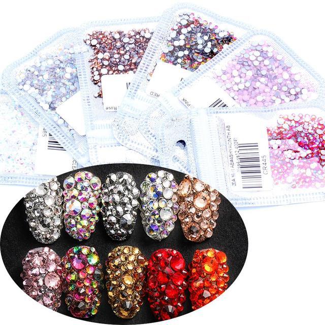 50e5d1d6ca US $1.02 26% OFF Aliexpress.com : Buy Nail Art Gems 400pcs Mix of SS4 SS12  Glass Flatback Crystals Non Hotfix Nail Rhinestones For Nails Art 3D ...