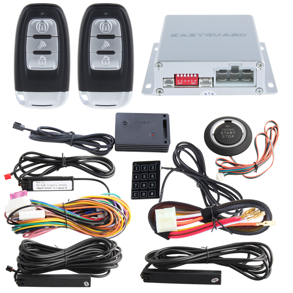 Rolling code smart key pke car alarm system remote engine start stop auto central