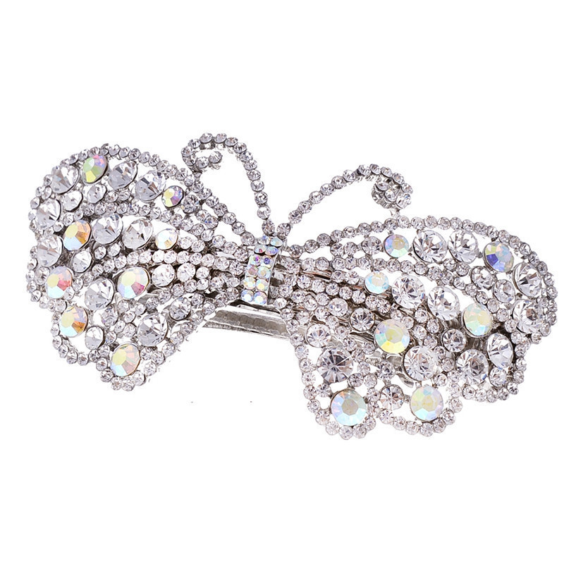 1Pc Shine Rhinestone Butterfly Hair Clip Hairpin Lovely Girls Fashion Headwear Party Jewelry Bridal Wedding Accessories Elastic