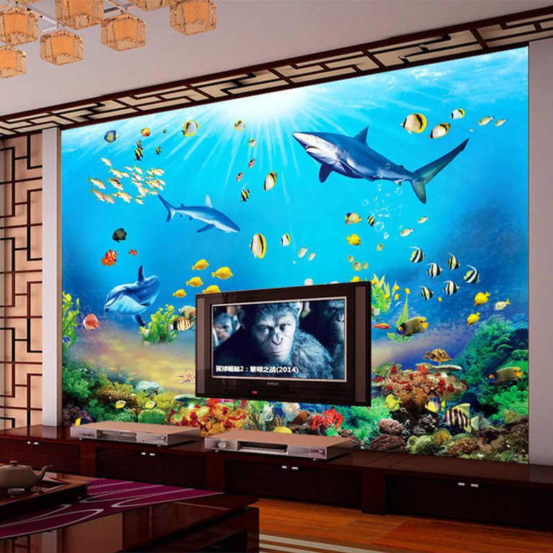 Hình Dán Tường HD Thế Giới Dưới Nước Cá Mập Cá Nhiệt Đới 3D Bức Tranh Tường Hiện Đại Hồ Cá TIVI PHÒNG KHÁCH Ngủ Trẻ Em Phông Nền Trang Trí Treo Tường