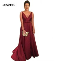 V Neck A Line Burgundy Mother of the Bride Dresses Taffeta Simple Long Wedding Party Dress for Mom Backless Formal Dress SMD10