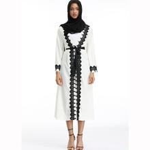 Plus Size Full Length Adult Emboridery Lace Muslim Robes Musulmane Abaya Arab Worship Service Clothing