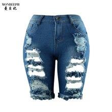 2017new 1/2 карандаш Джинсовые Капри Для Женщин Плюс Размер Летом Стиль женщин Свободные Колена Длинные Шорты Cutting Short джинсы