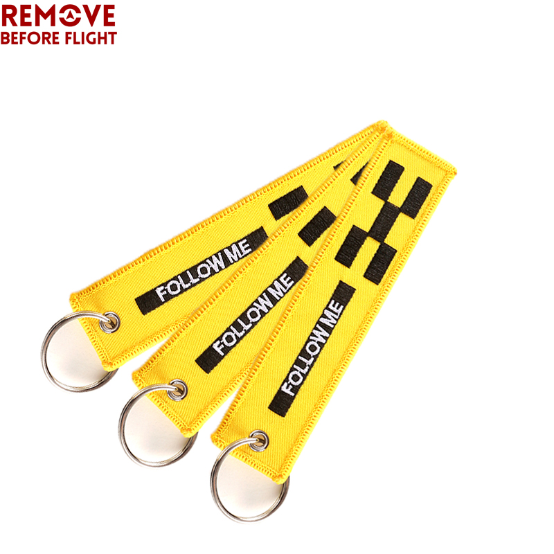 3pcs/lot FOLLOW ME OEM Car Key Chain Yellow Embroidery Key Ring Luggage Safety Tag Label for Aviation Gifts Fashion Keychains