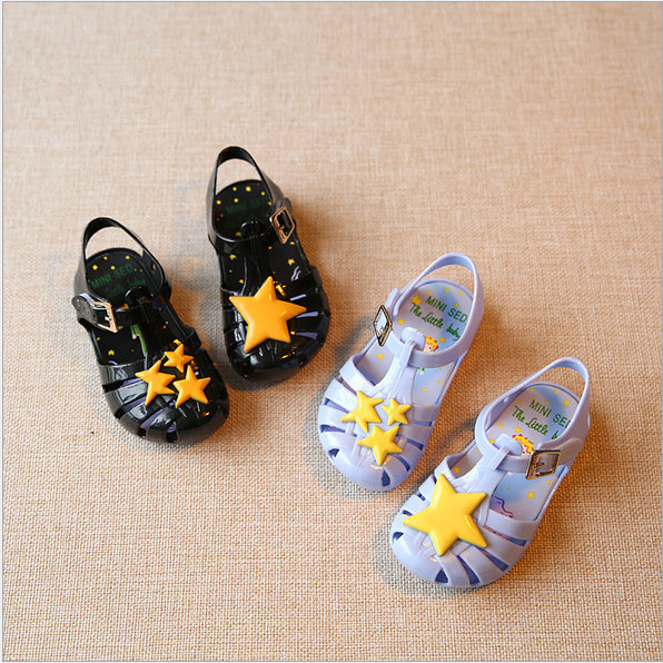 Mini Sed Shoes 2016 Summer girls Sandals Children star jelly shoes For Girl shoes size EU19-31 mini sed shoes