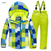2017 New Children Kids Boy Girl Outdoor Skiing Snow Suits Jacket Overall Pants Sets Child Sports