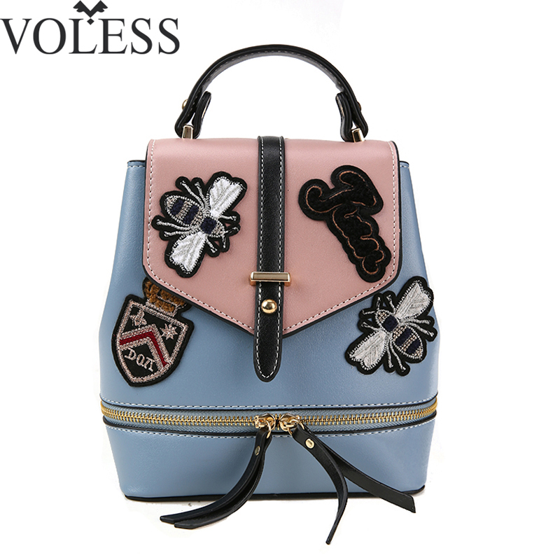 VOLESS Fashion Women Backpack PU Leather Backpack Patchwork Embroidery School Backpacks teenage girls Patchwork Backpack Women