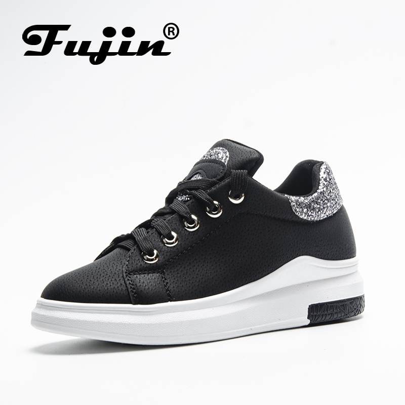 Fuijin 2018 Spring Summer Autumn women Fashion sneakers female casual shoes platform PU leather classic cotton lace up shoes