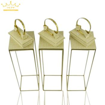 Free Shipping Stainless Steel Bracelet Stand 34cm Jewelry Rack With Beige Linen Adjustable Mannequin