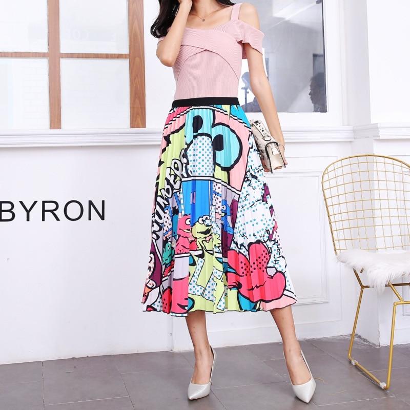 2020 New Summer Skirts Womens Butterfly Catroon Print Empire High Waist Elastci Pleated Midi Skirt European High Street Style 31