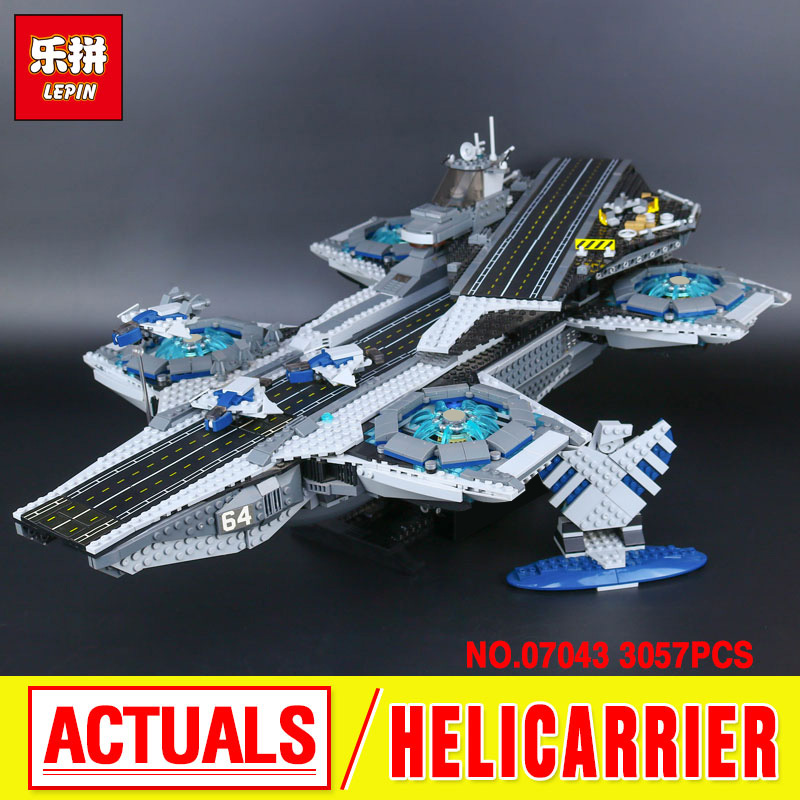 LEPIN 07043 3057pcs New Super Heroes The SHIELD Helicarrier Model Educational Building Kits Blocks Bricks Toys brinquedos 76042 2017 new sembo sy911 4288pcs super heroes the shield hellicarrier children educational model building kits brick toys gift 76042