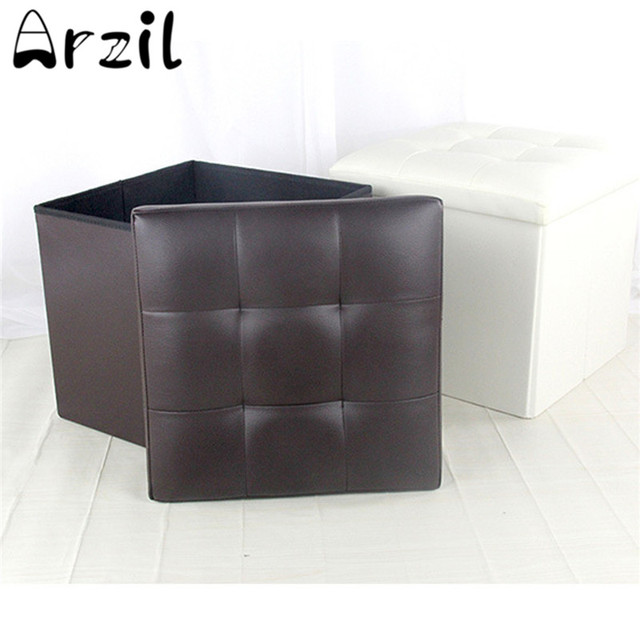 Awesome Us 24 12 Folding Ottoman Storage Blanket Box Organizer Footstool Stool Cube Pouf Sofa Home Furniture Faux Leather 3 Colors Large Capacity In Storage Machost Co Dining Chair Design Ideas Machostcouk