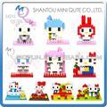 Mini Qute WTOYW LOZ 10 estilo seleccionable kawaii hello kitty diamond cubo de plástico bloques de construcción de ladrillos de juguetes educativos