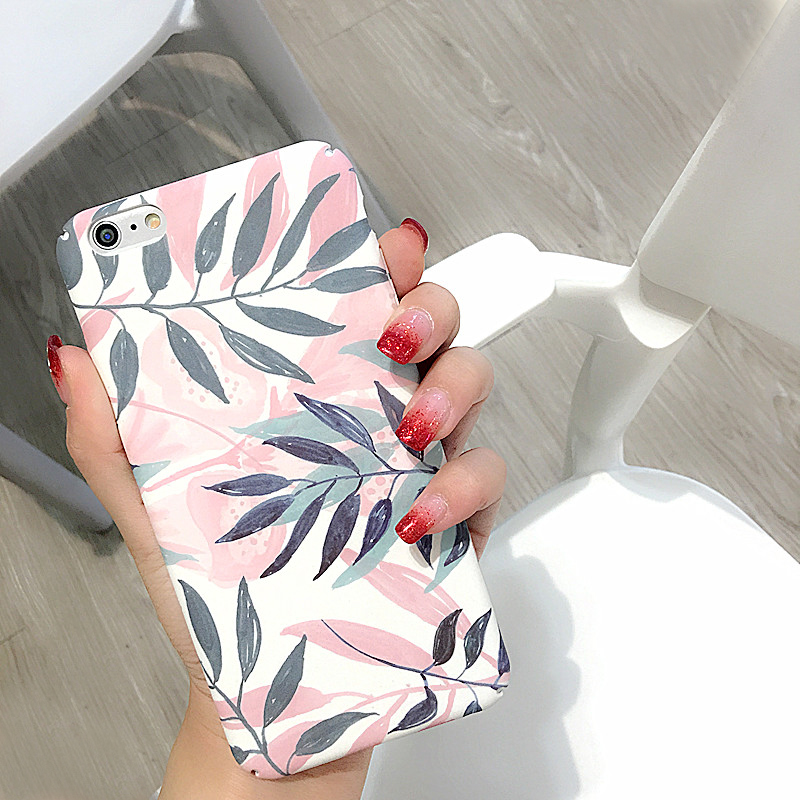 Fashion Plants Leaves Print Phone Case For iPhone 6 6S 7 Plus 8 8plus Hard PC Matte Full Protect Back Cover Cases