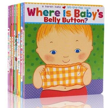 8 livres/ensemble partie du corps apprendre l'anglais mot par Karen Katz enfants carte livre bébé anglais coloriage conseil livres pour enfants