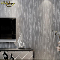 Papel De Parede Non Woven Fashion Thin Flocking Vertical Stripes Wallpaper For Living Room Sofa Background