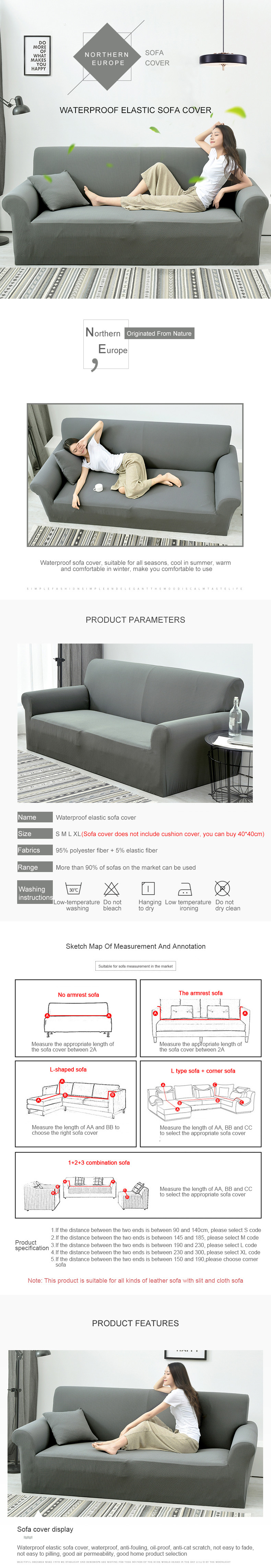 Home & Kitchen Large Sofa Slipcover 3 Seater Stretch Anti ...