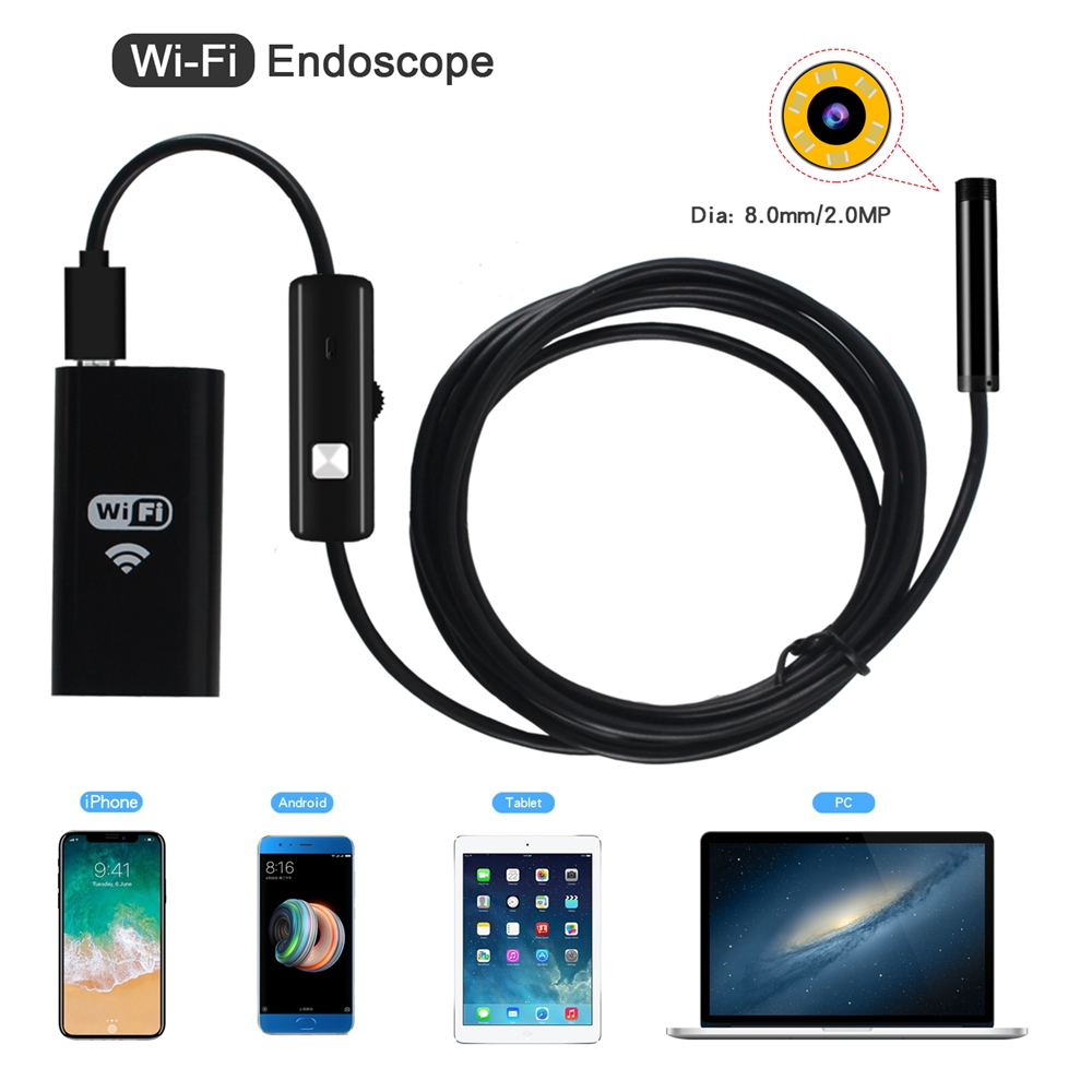 WIFI Endoscope Camera Mini Waterproof Soft Cable Inspection Camera 8mm USB Endoscope Borescope IOS For Android PC Iphone