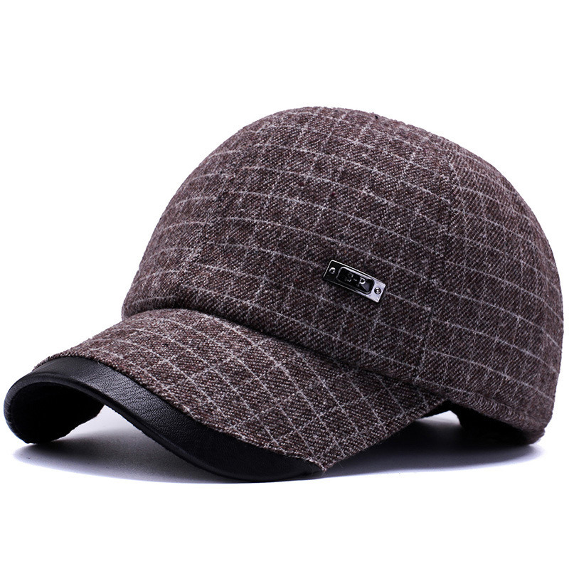2018 New Mens Winter Wool Baseball Caps with Earmuffs Earflaps Plaid Warm  Leather Hats Bone Gorras Casquette Dad Trucker Hat-in Baseball Caps from  Apparel ... bc5337b4586d