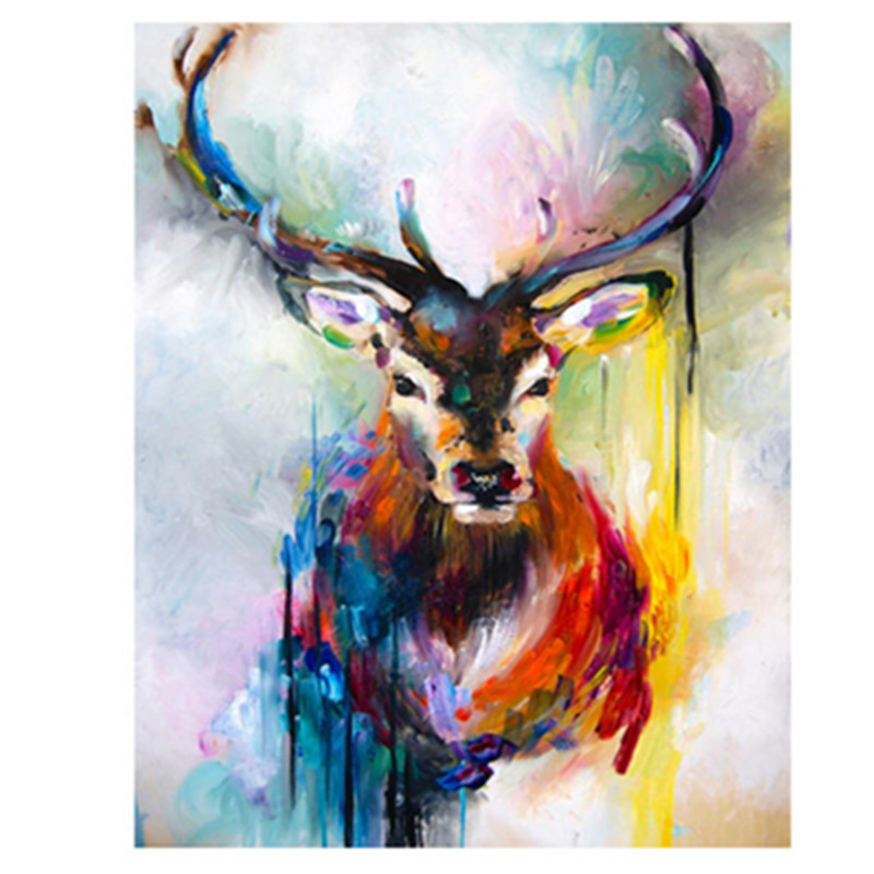 Popular Product  Painting By Numbers DIY Dropshipping 40x50 50x65cm The color sadness elk Animal Canvas Wedding Deco