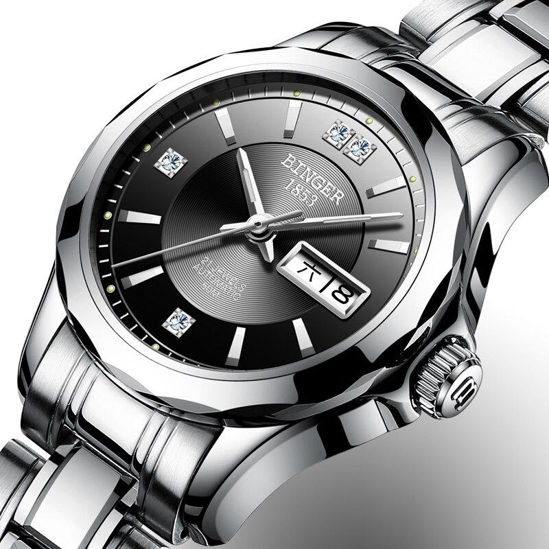 2017 Binger Watch Women Luxury Brand Japan Automatic Mechanical Movement Wrist Sapphire Waterproof Ladies Watch gold 8051-6