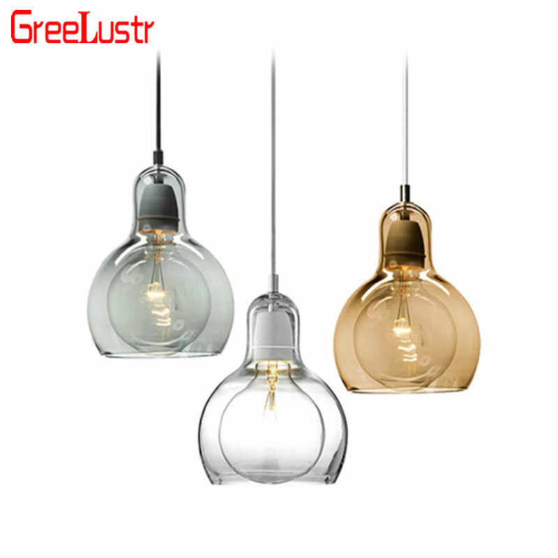Nordic Loft E27 Pendant Lamp Clear Amber Glass Lampshade Chandelier Ball  Hanging Lights Lustres For Home Deco Light Fixture