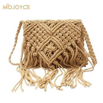 ... Women Woven Tassel Handbag Fashion Designer Zipper Crossbody Bags for  women Hollow Shoulder Bag Boho Summer 97db540316a4