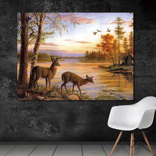 Wall art the forest two deers posters and prints home decoration Picture animal painting print on canvas(China)