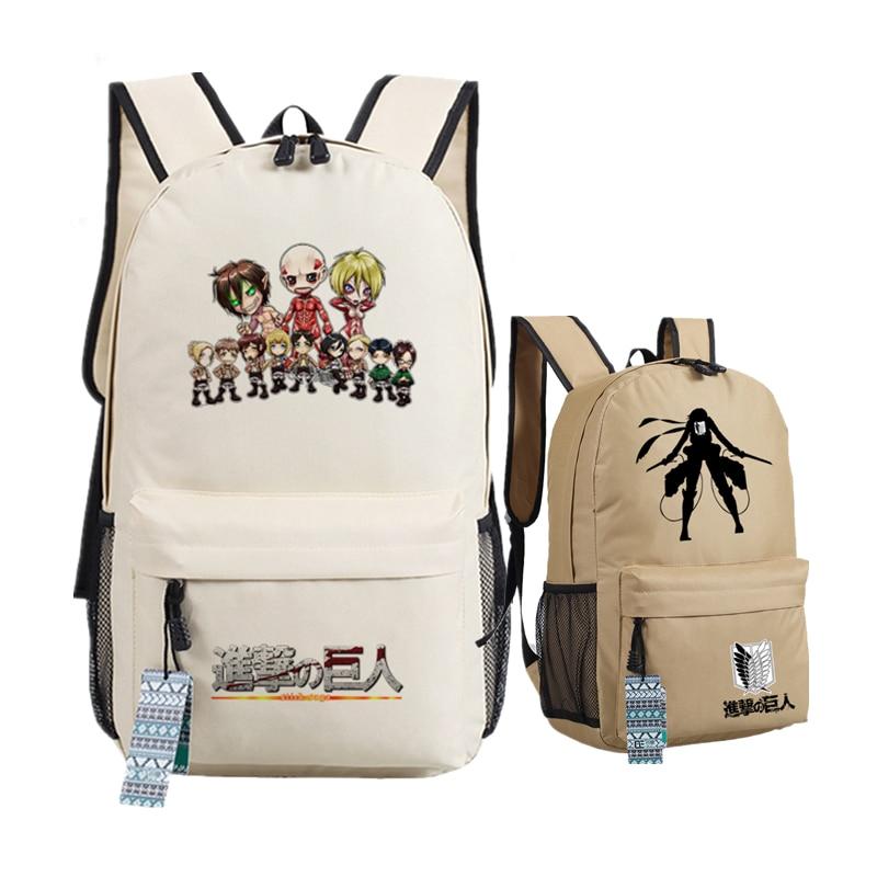 Hot-blooded Anime Attack On Titan Scout Legion Eren Women Bags Canvas Printing Backpack Levi School Bags Bolsas Feminina