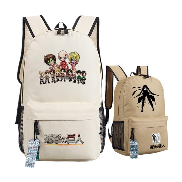 cad4d236861 Hot-blooded Anime Attack on Titan Scout Legion Eren Women Bags Canvas  Printing Backpack Levi School Bags Bolsas Feminina