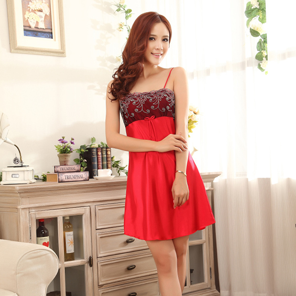 Women Sexy Braces Sleepwear Dress Imitated Silk Robes Home Nightgowns For Lady